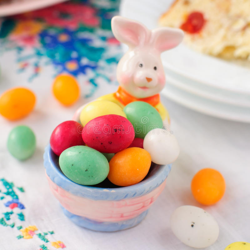 Easter Bunny Egg Holder Filled with Colorful Spotted Egg-Shaped royalty free stock image