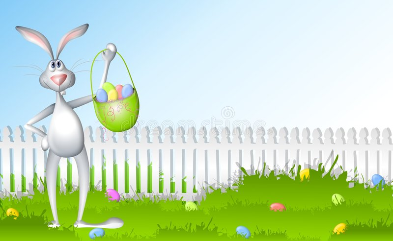 Easter Bunny Egg Hunt. A clip art illustration featuring an Easter bunny rabbit standing in the grass with basket of eggs against a blue sky and white picket royalty free illustration
