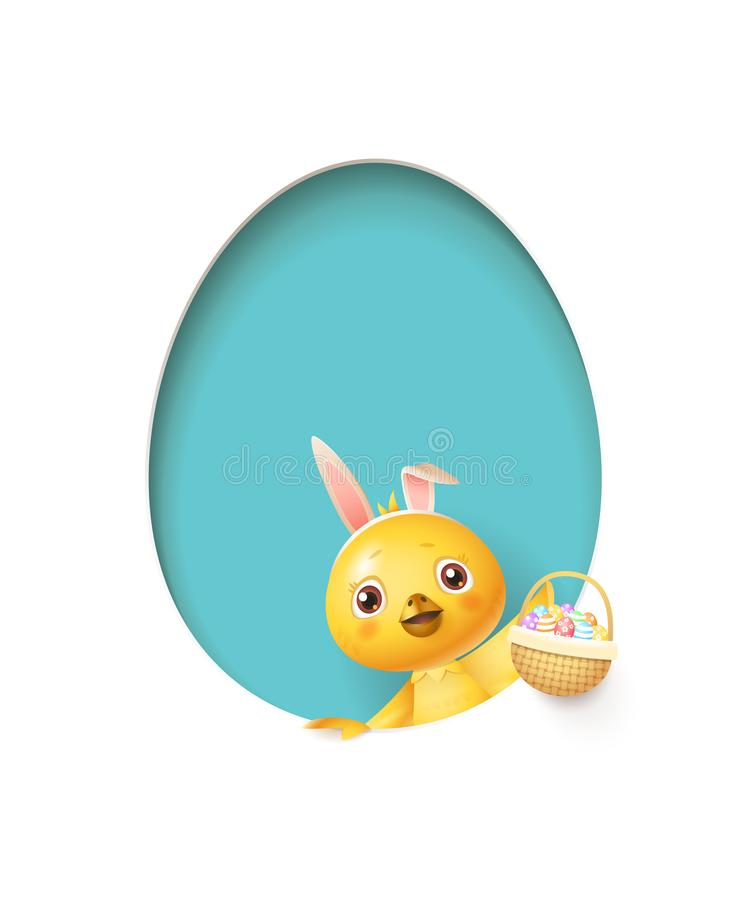 Easter chicken in egg shaped blue hole with a basket filled with decorated eggs - isolated on white stock illustration