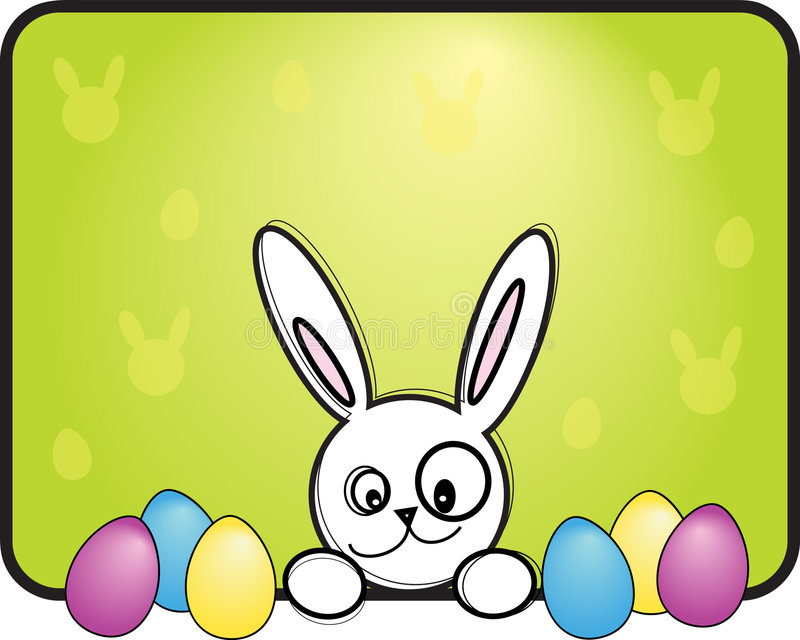 Easter bunny with eggs stock illustration