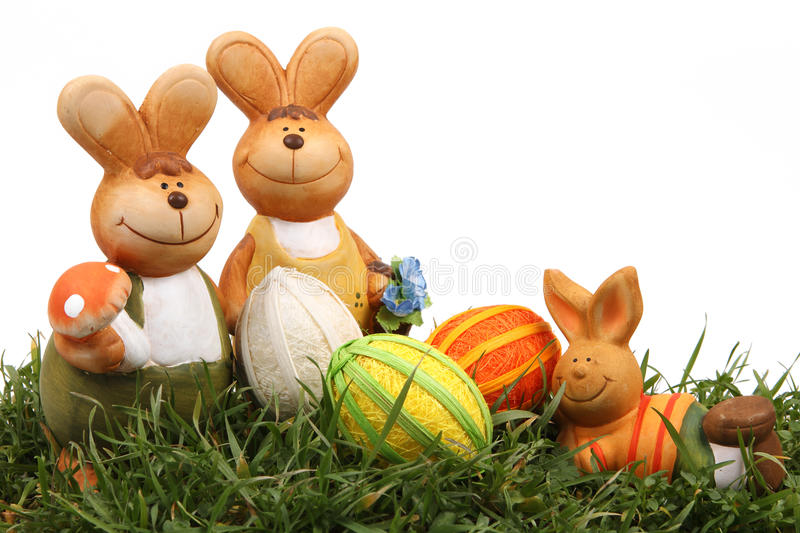 Easter bunny and eggs. On white background stock photography