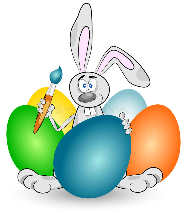Easter Bunny and eggs royalty free illustration