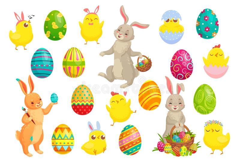 Easter bunny eggs. Cute rabbit, spring chicks and colorful egg vector illustration set vector illustration