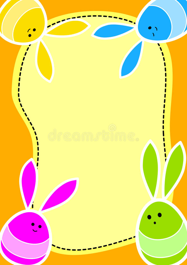 Easter Bunny Eggs Greeting Card. Funny Bunny Easter Eggs with space to write message royalty free illustration