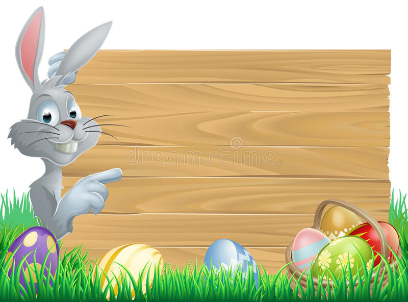 Easter bunny eggs and sign vector illustration