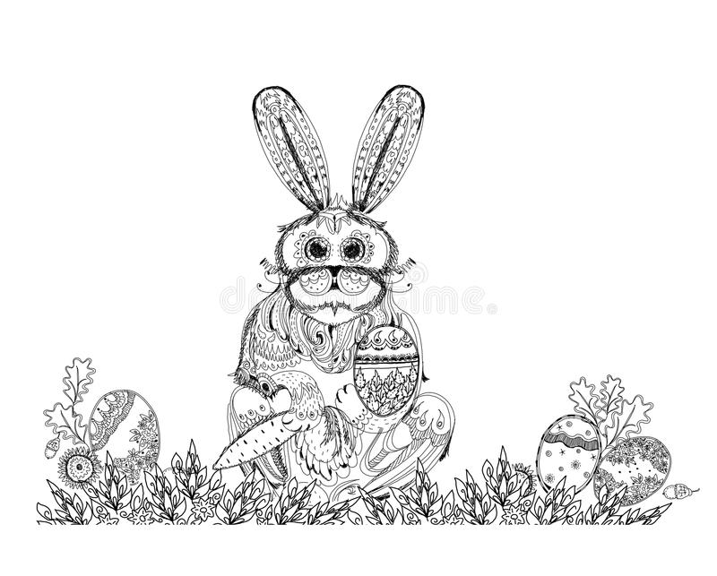 Easter bunny and eggs, Sketch collection illustration. Easter bunny and eggs. Background Sketch collection royalty free illustration
