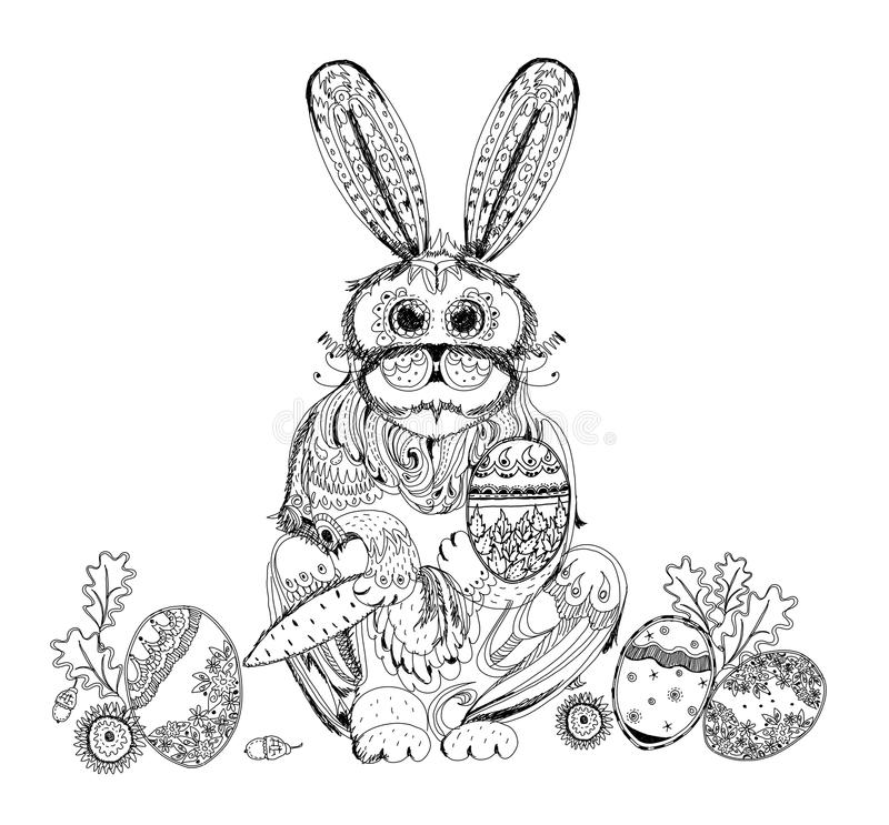 Easter bunny and eggs, Sketch collection illustration. Easter bunny and eggs. Background Sketch collection stock illustration