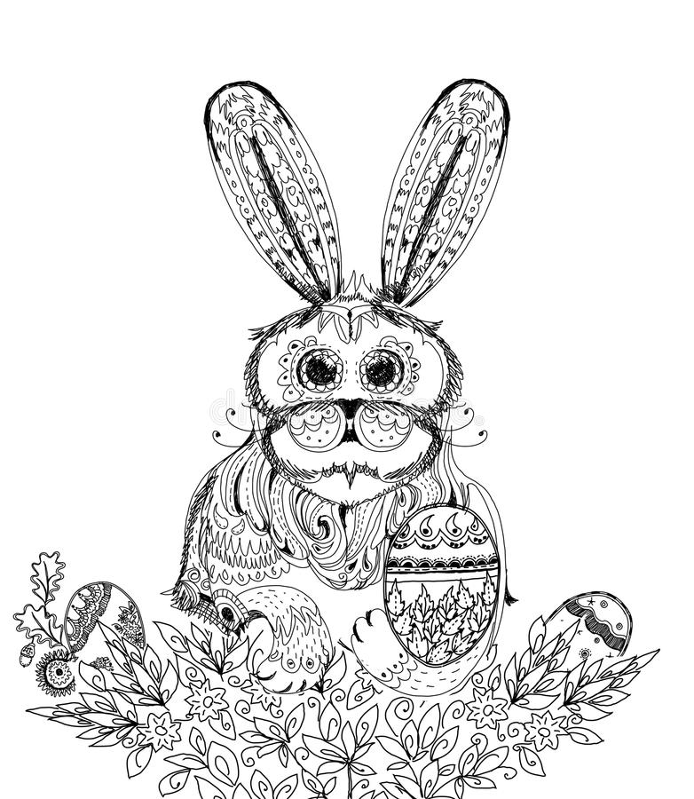 Easter bunny and eggs, Sketch collection illustration. Easter bunny and eggs. Background Sketch collection vector illustration