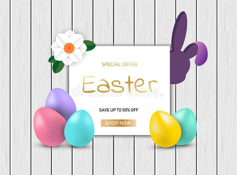 Easter Bunny with eggs on wooden sale background vector illustration