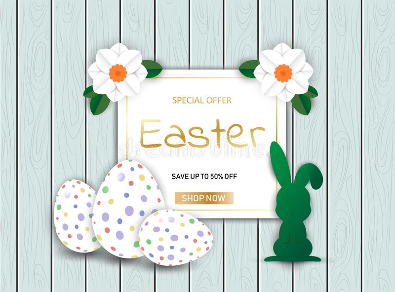 Easter Bunny with eggs on wooden sale background иллюстрация штока