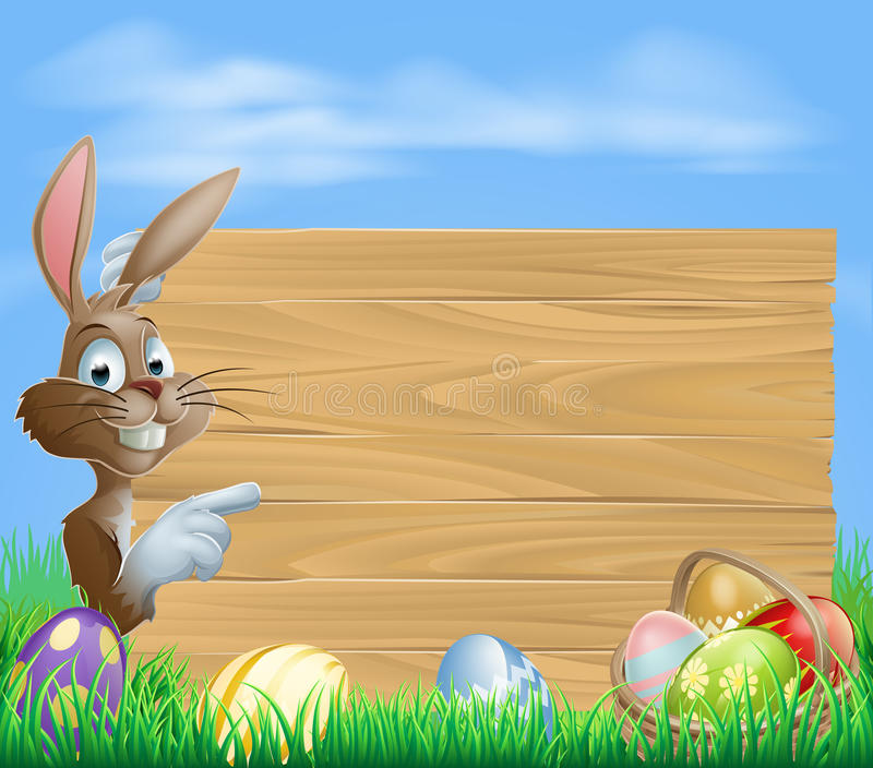 Easter Bunny And Eggs With Wooden Sign Stock Photo