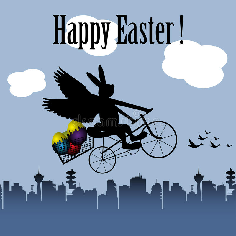 Abstract Background With A Winged Rabbit On Bicycle Flying Above City Colorful Easter Eggs Theme