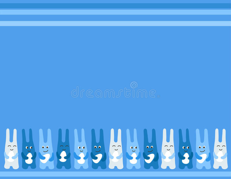 Easter bunny fun three Easter eggs background for greetings card stock illustration