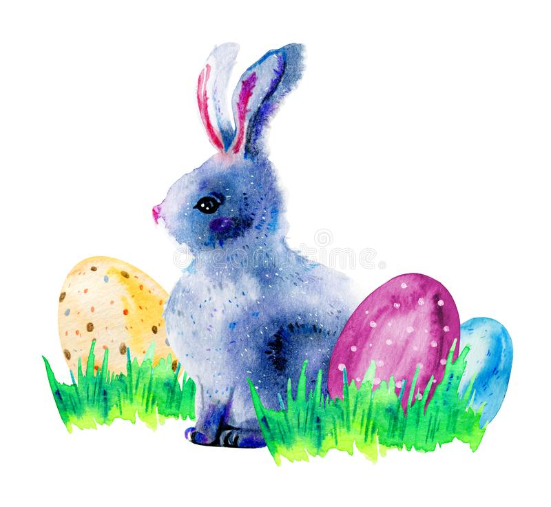 Easter bunny in grass with painted easter eggs. Hand drawn cartoon sketch watercolor illustration vector illustration