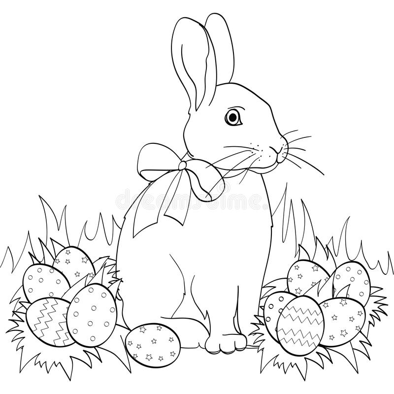 Easter bunny on green grass, Easter eggs. Children coloring book. Black lines, white background royalty free illustration