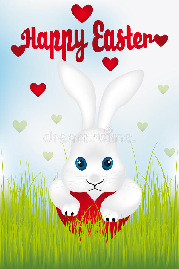 Easter bunny with heart - Happy Easter. Easter bunny with heart Easter card - available as eps and jpg-file royalty free illustration
