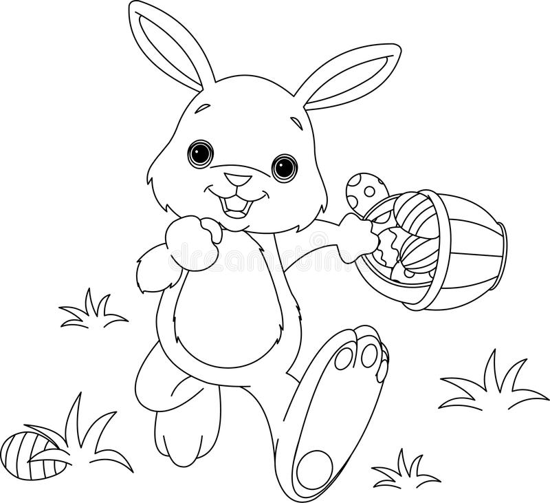 Easter Bunny Hiding Eggs Coloring Page Stock Illustration