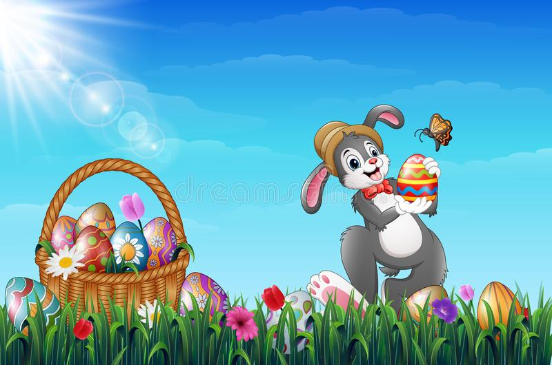 Easter bunny holding Easter eggs with a butterfly. Easter Wicker basket full of decorated Easter eggs in a grass field vector illustration