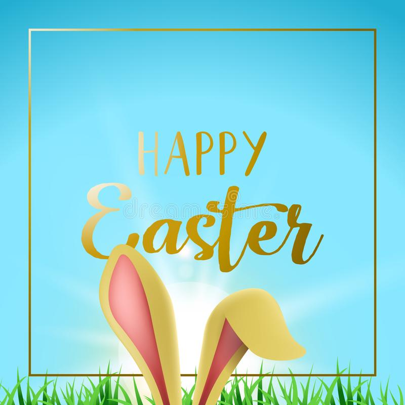 Download Happy Easter Card With Gold Frame And Bunny Ears Stock Vector    Illustration Of Bunny