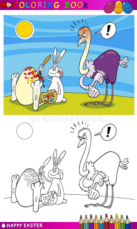 Download Easter Bunny Humor Cartoon For Coloring Stock Vector - Illustration: 28698446