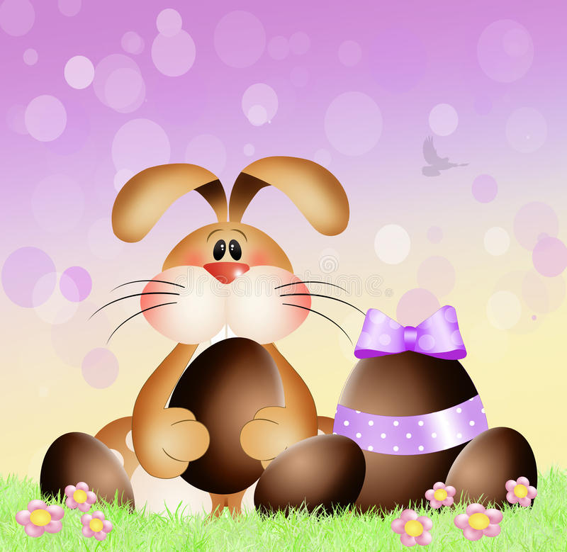 Easter bunny. Illustration of Easter bunny with chocolate eggs royalty free illustration
