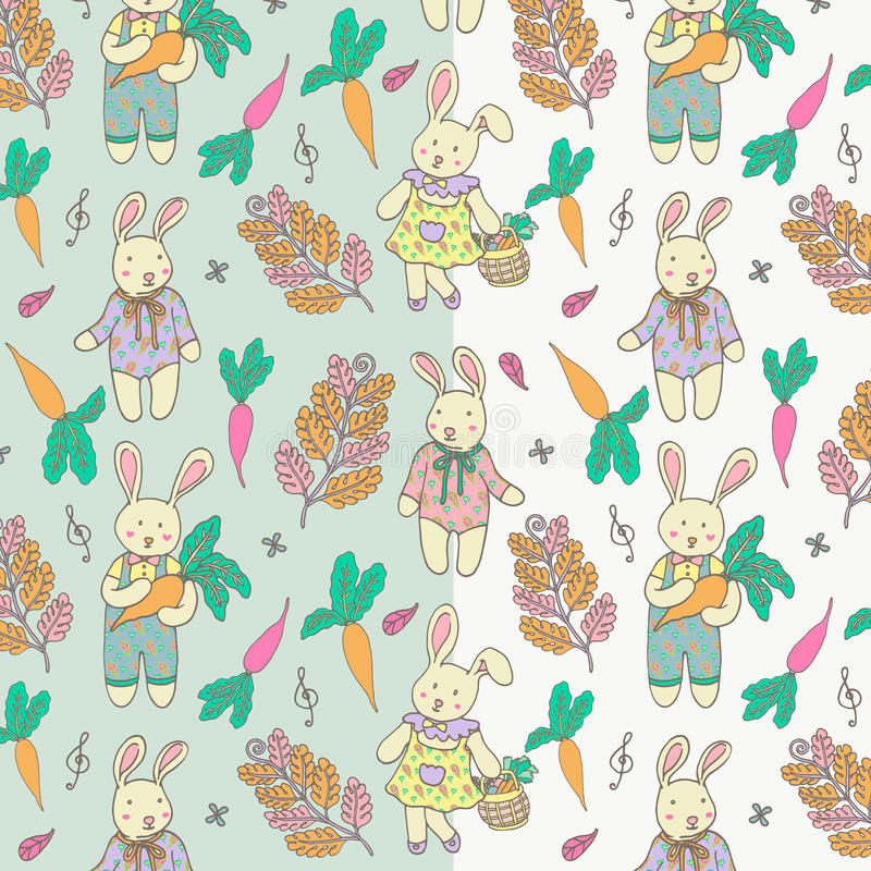 Easter Bunny Illustration Doodle Vector Pattern. stock photos