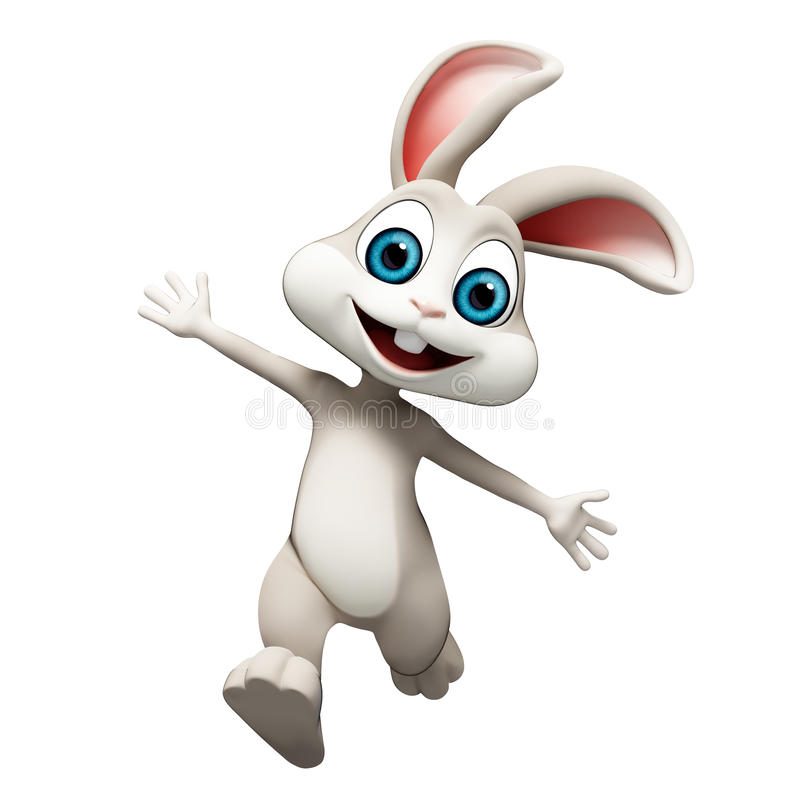 Easter Bunny jumping. Easter happy gray Bunny jumping stock illustration