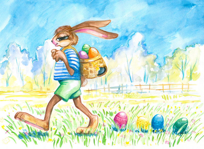 Easter bunny lost eggs. stock images