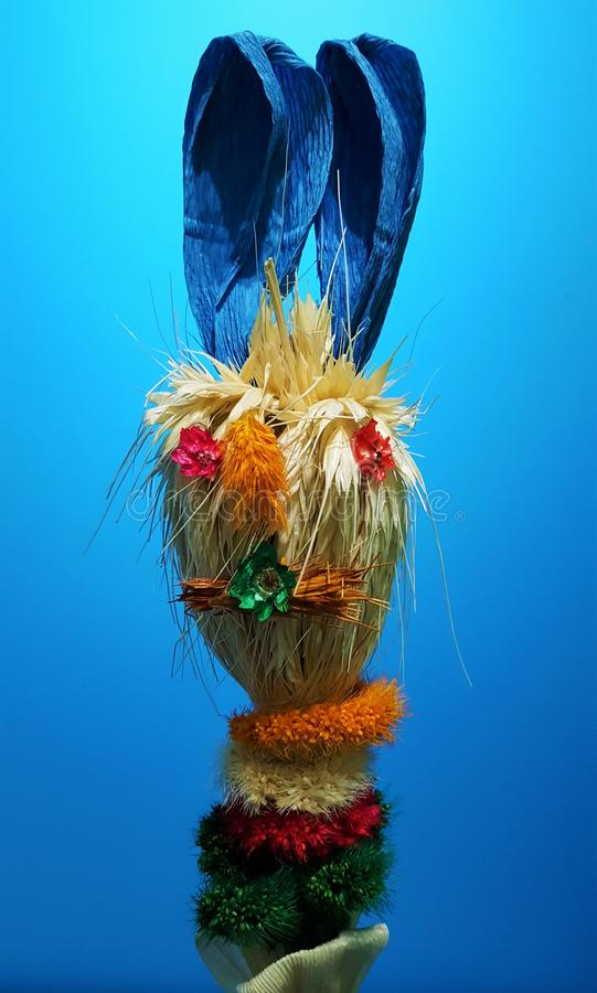 Easter bunny made of dried grain, weeds, flowers. Handmade easter bunny of various dried types of grain and weeds or flowers , called easter palm tree. Very stock photos