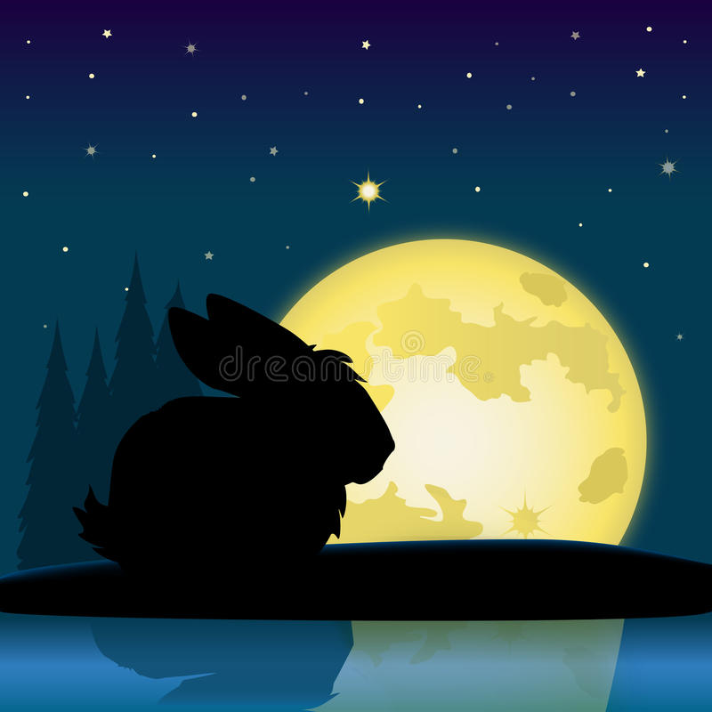 Download Easter Bunny Moon stock illustration. Image of reflection - 17283068