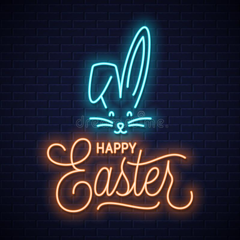 Easter bunny neon sign. Easter rabbit neon ears stock illustration