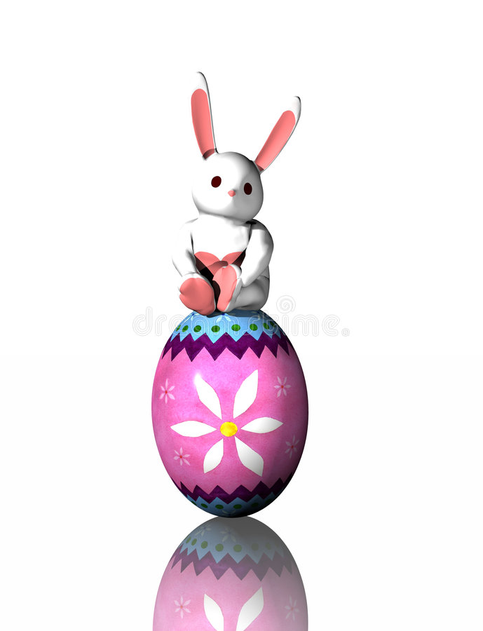 Free Easter Bunny On Egg Stock Photos - 687523