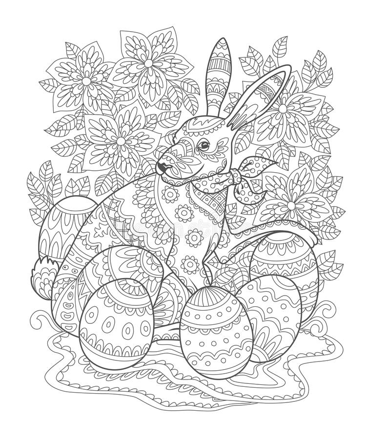 Easter bunny outline coloring book page vector illustration