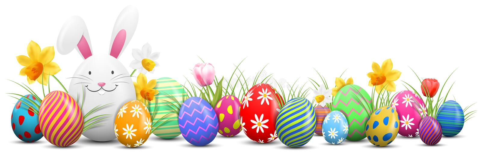 Easter bunny with painted easter eggs and flowers isolated royalty free illustration