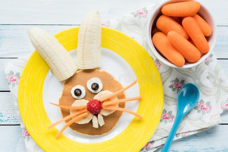 Easter Bunny Pancake For Kids. Colorful Funny Meal For Kids royalty free stock image