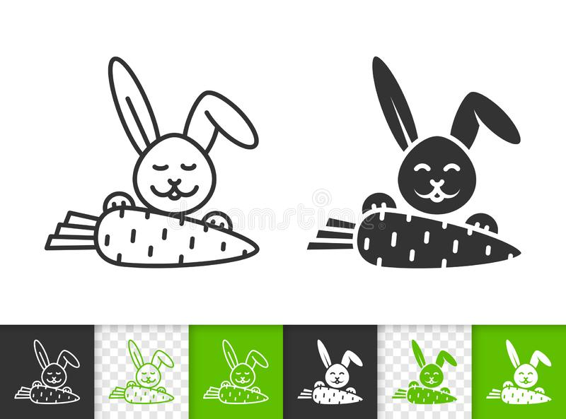 Easter bunny rabbit carrot black line vector icon. Easter black linear and silhouette icons. Thin line sign of bunny. Carrot outline pictogram isolated on white royalty free illustration