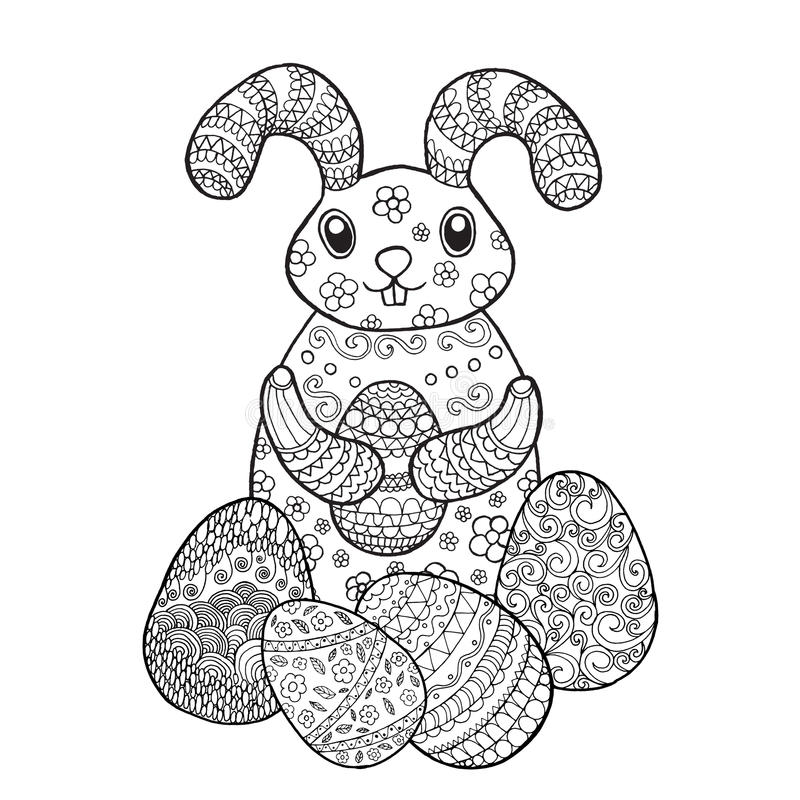 Easter Bunny Rabbit Coloring Page Stock Vector - Illustration of ...
