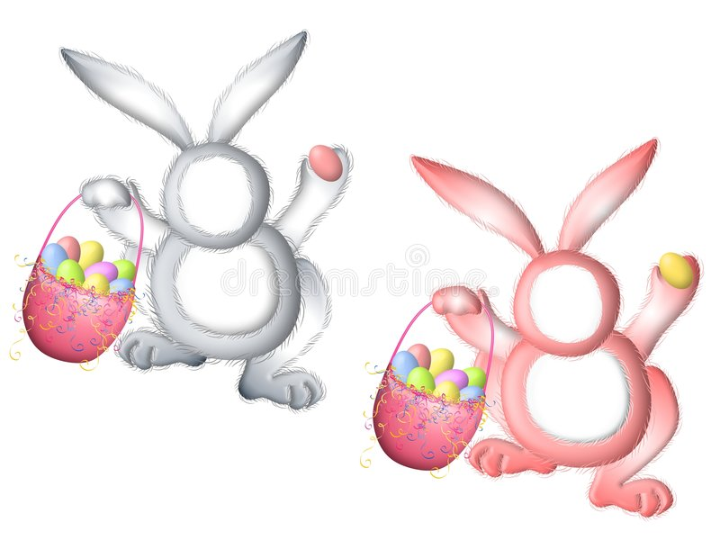 Easter Bunny Rabbit Suits For Faces. A clip art illustration featuring your choice of two Easter bunny rabbits - in white and pink carrying a basket of eggs vector illustration