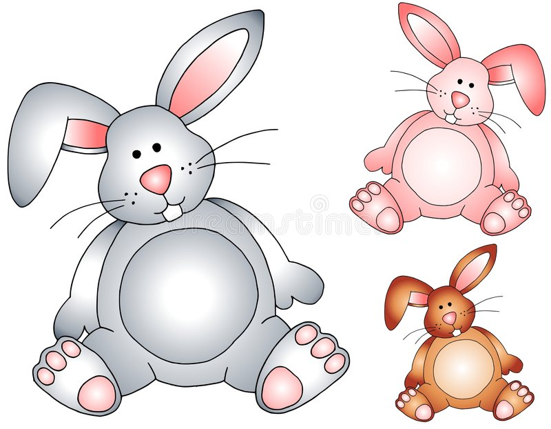 Easter Bunny Rabbits Stuffed Toys. A clip art illustration featuring 3 adorable Easter bunny rabbits in grey, pink and brown isolated on white