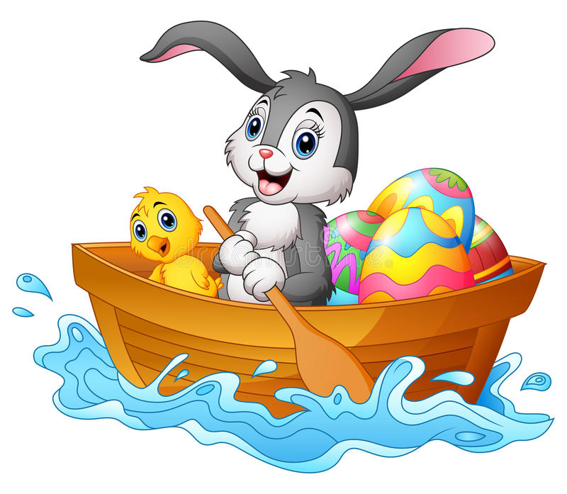 Easter bunny rowing boat with chicks and decorated easter eggs vector illustration