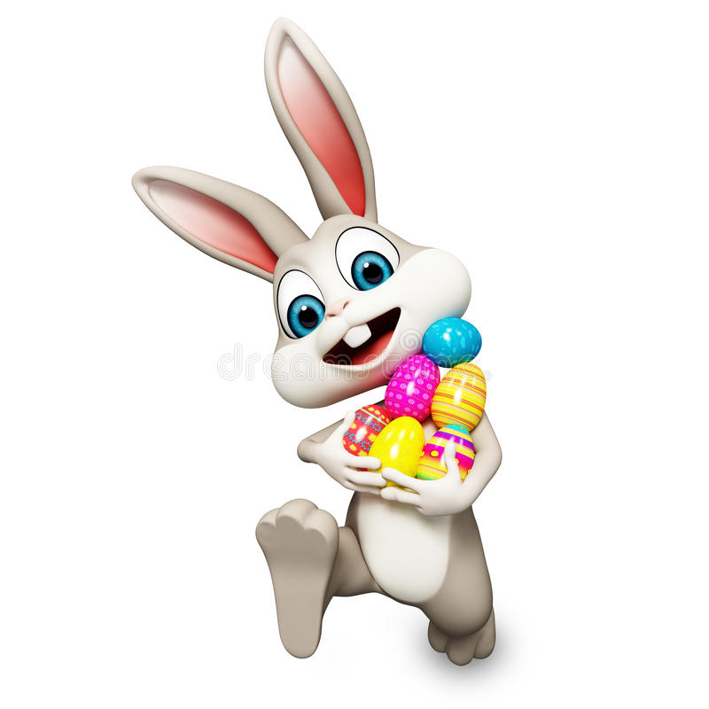 Easter bunny running with ages. Easter gray bunny running with ages royalty free illustration