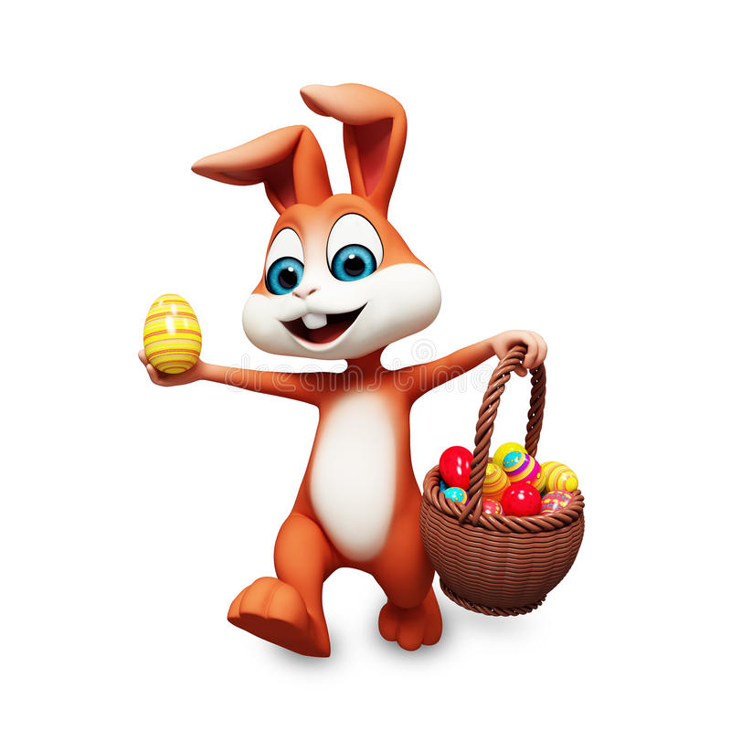 Easter bunny is running with basket royalty free illustration