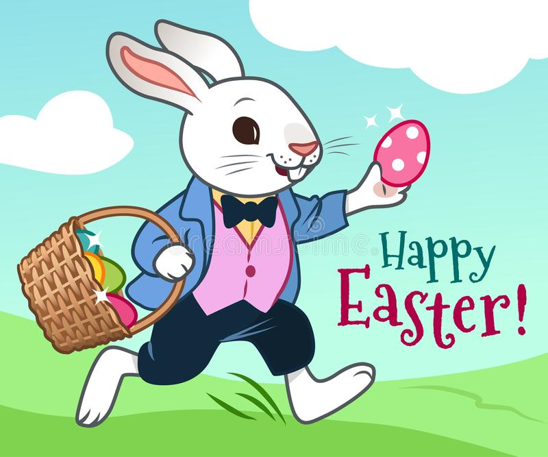 Easter bunny running in a field with basket full of colorful chocolate eggs vector cartoon illustration. Easter, spring, egg hunt vector illustration