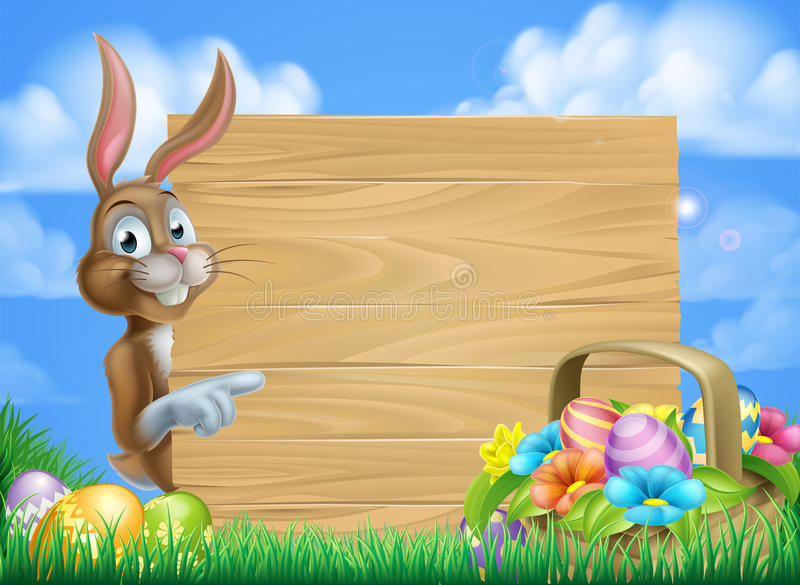 Easter Bunny Sign Background Stock Vector