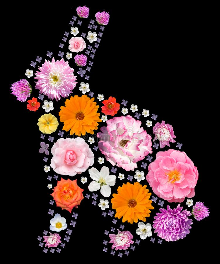 Easter rabbit silhouette with floral pattern. stock images