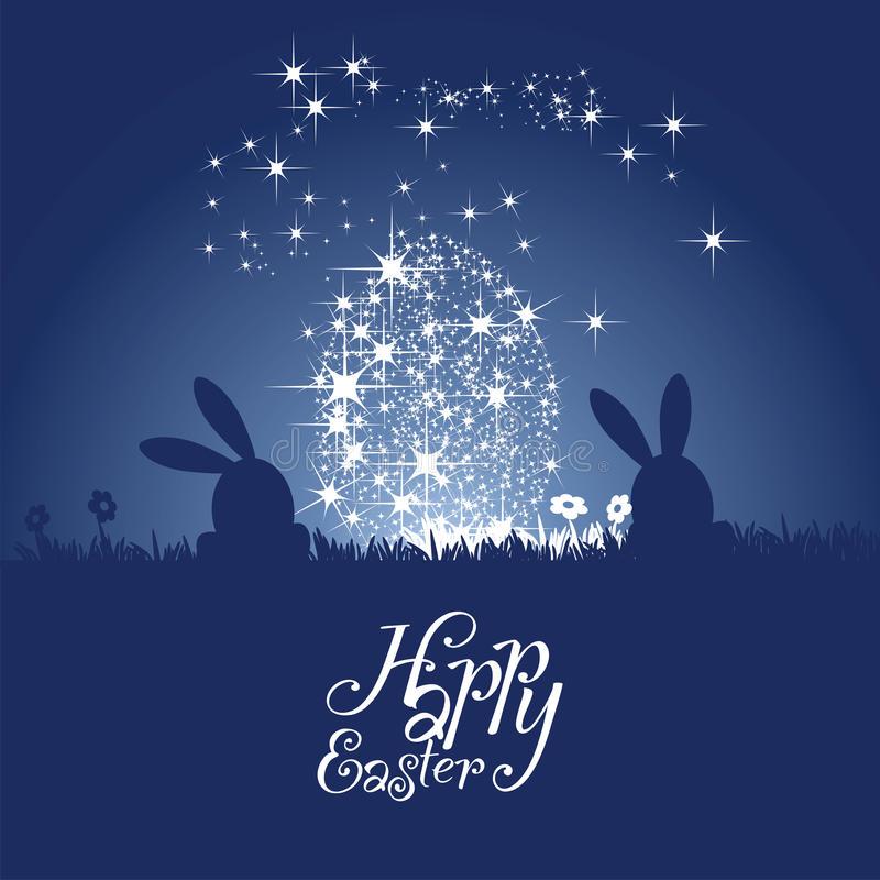 Easter bunny silhouette stars egg blue night background royalty free illustration