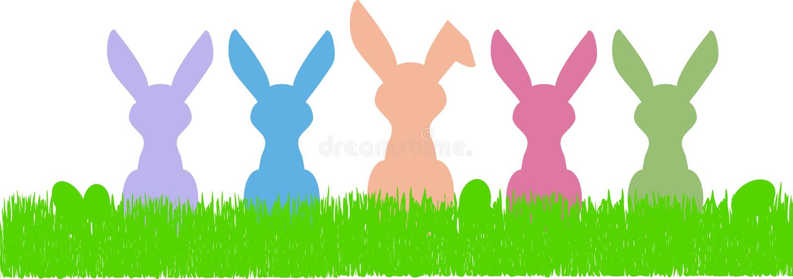 Easter bunny silhouettes and eggs, free copy space royalty free illustration