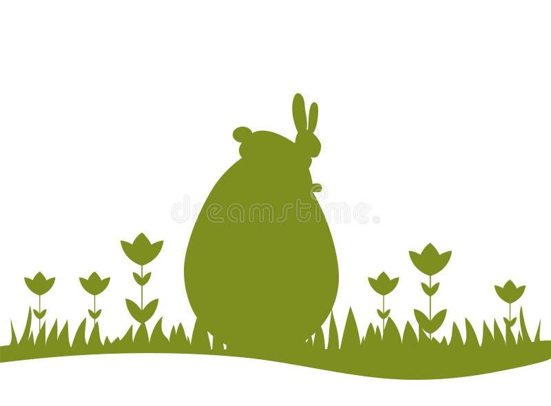 Easter bunny sitting on big egg stock photography