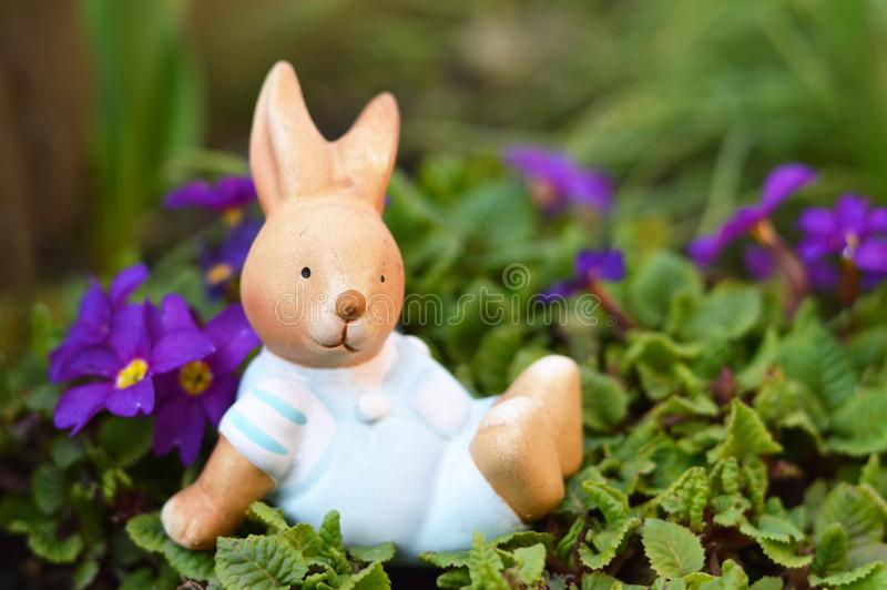 Easter bunny and spring flowers stock image