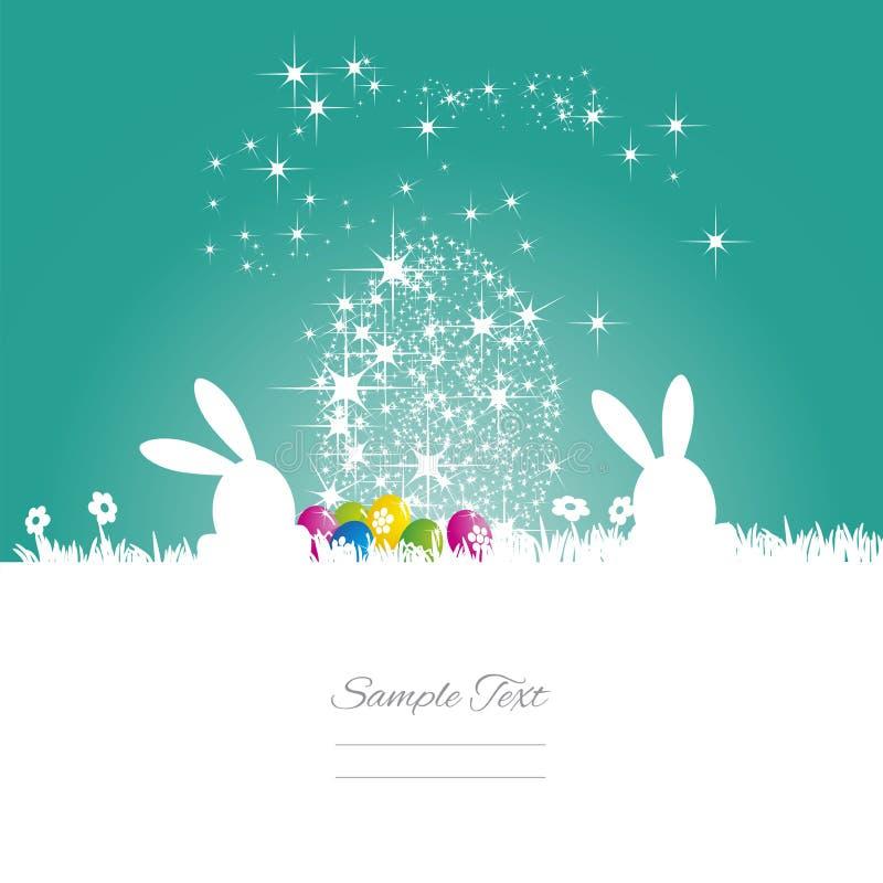 Easter bunny stars egg sea green white background royalty free illustration